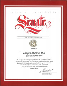 2015.09 CA Senate Contractor of the Year Recognition